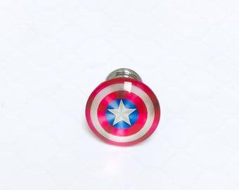 Captain America Dresser Drawer Knobs ~ Superhero Knobs ~ Kids Dresser Drawer Pull ~ Captain America Room Decor ~ Justice League Knobs ~