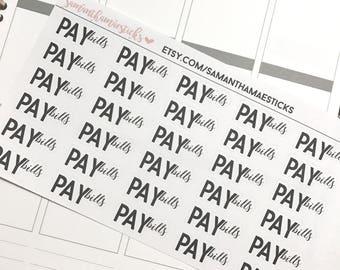 Pay Bills Lettering ECLP Erin Condren Lifeplanner™ Happy Planner Stickers