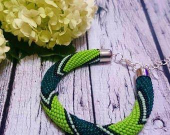 Mint green emerald geometric pattern seed beads jewelry beaded bracelet spiral bead crochet rope beaded bracelet beadweaving beaded cord