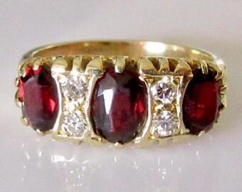 Large 18ct Gold Garnet and Diamond Ring