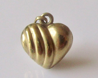 9ct Gold Puffy  Heart Pendant or Charm