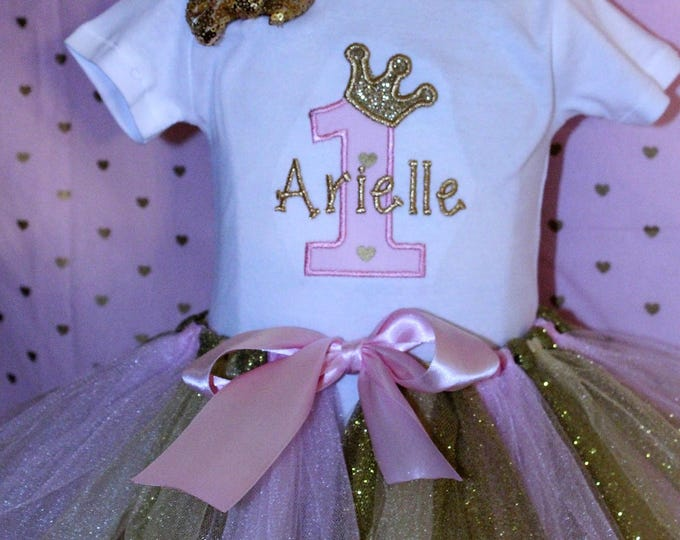 Birthday outfit for girls,First birthday outfit,Pink and Gold birthday,Pink crown,Pink tutu,Princess birthday,Personalized 1st birthday,Pink