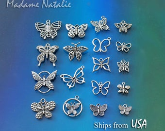 Butterfly Charm Collection (18), Antique Silver Tone Butterfly Charms, Bracelet Charms, Insect Charms, Collection of Silver Butterfly Charms