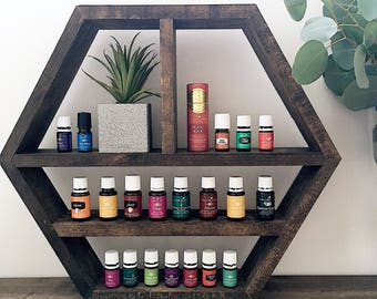 Essential Oil Shelf | Hexagon Wall Shelf | Honeycomb Shelf | Wall Decor