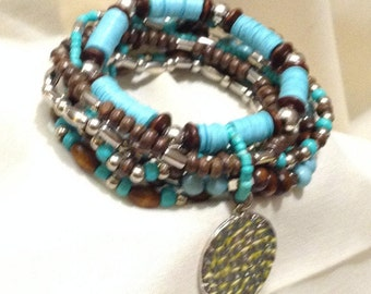 Boho Turquoise & Wood Beaded Stretch Bracelet, Southwest 7 Row Expandable Bracelet 9950-134