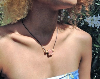 Boho Rosy Red and Gold Floral Choker or Necklace