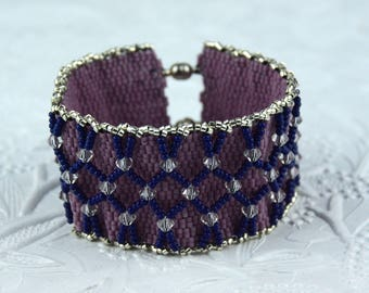 Pink, Blue and Silver Seed Beaded Cuff Bracelet with Silver Magnetic Clasp and Clear Faceted Crystal Beads