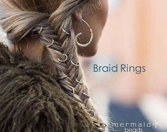 Braid Rings Set Custom Natural Hair Hoops Beach Weddings Boho Jewelry Hair Accessories Bridal Bridesmaids Rose Gold Silver Sexy