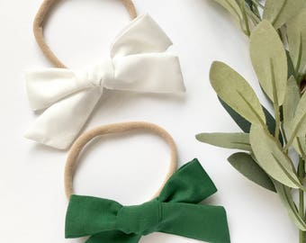 White or Green // Hand Tied, Schoolgirl, Fabric Bow