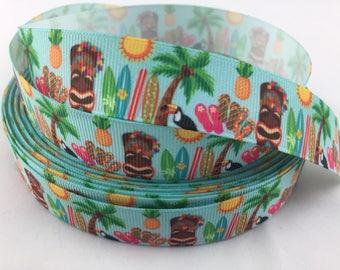 """Hawian Grosgrain Ribbons, tiki ribbons,Hawaii ribbons,surf board ribbon, Tuscan ribbon, ocean ribbons, summer ribbons,7/8"""" Grosgrain Ribbons"""
