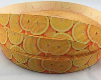 """Oranges ribbons, fruit ribbon,citrus ribbons, Grosgrain Ribbon. Available in 7/8""""  grosgrain ribbons"""
