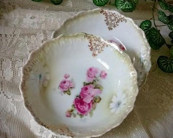 ON SALE 2 Vintage Berry Bowls or Dessert Bowls from Bavaria with Pink Roses and Gold Trim