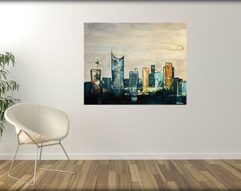 mid-century modern abstract art original painting mcm skyline mad men