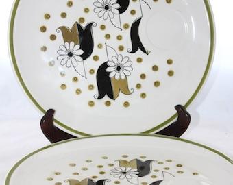 Tulip & Daisies Mikasa Jonas Roberts Set of 4 Somerset Snack Plates -- Cera-Stone, Ceramic-- Graphic, Black, Green, Band, Plate, Dish--Japan