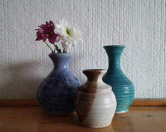 Trio of Irish Small Pottery Vases // Vintage Bud Vase Collection // Squat Vase // Blue Studio Pottery