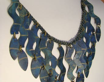 Vintage Handmade bib style Necklace brushed gold-tone painted
