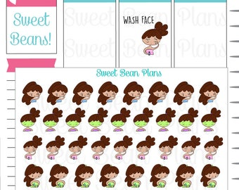 Hand Drawn Doodle Girls- Beauty/Skin Care Routine Planner Stickers