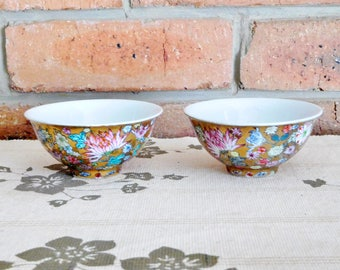 Chinese, Oriental porcelain small side or tea bowls, lotus flower design on gold ground, mid century 1950s