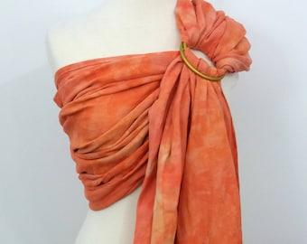 Ring sling wrap conversion, cotton - Linen, hand dyed, orange, peach