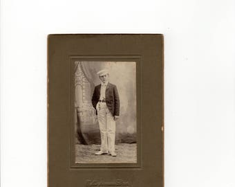 antique cabinet card photo of full legnth boy in white pants