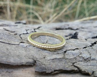 14K Gold beaded ring, dainty ring for women, ball beaded wedding band, simple unique solid gold ring