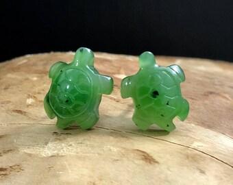 Canadian Nephrite Jade Turtle Stud Earrings - Green Jade - Natural Jade