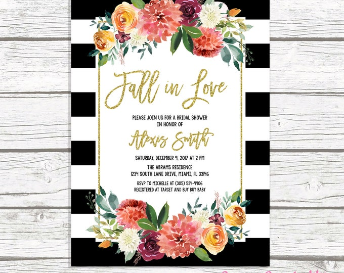Fall in Love Bridal Shower Invitation, Black and White Fall Bridal Shower Invitation, Black and White Stripe, Fall Bridal Shower Invite