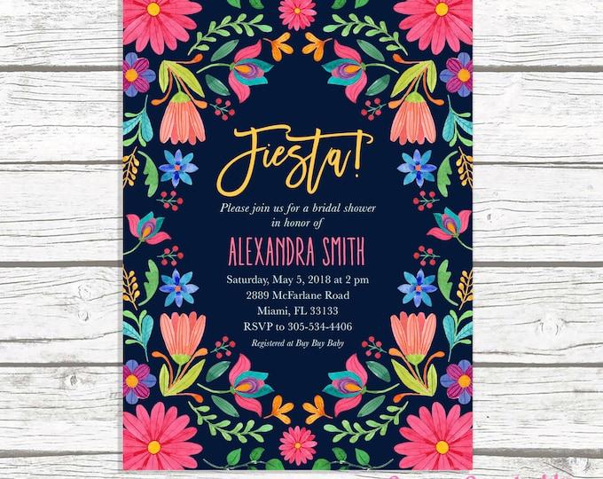 Fiesta Bridal Shower Invitation, Cinco de Mayo Bridal Shower Invitation, Mexican Floral Invite, Mexican Fiesta, Cinco de Mayo Invite