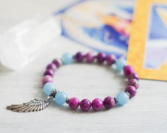Archangel Michael - Celestial Bracelet - Healing Bracelet - Archangel Bracelet - Sugilite Bracelet - Cosmic Bracelet - Angel Jewelry