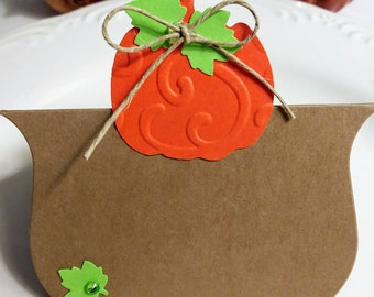 Thanksgiving place cards, thanksgiving name cards, die cut pumpkin, table place cards/set of six
