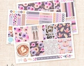 Fall Girl - 3 sheets kit for Horizontal Erin Condren planner - Floral Autumn stickers