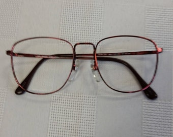 1980s Marcolin Flexon Frame: Red Square Metal; Excellent Condition; Rx-able and Ready for your Custom Lenses