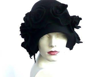 Black felt hat, felted hat, black hat, felt hats, Cloche Hat,1920 Hat,Black Hat Cloche, Victorian 1920's, black roses,black cloche