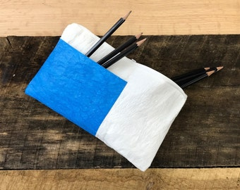 Pencil Bag w/ Pockets, Blue Pockets, Wipeable, Recycled Grocery Bags, Cosmetic Bag