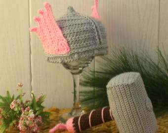 Baby Girl Thor hat and hammer, Pink Thor hat, Thor Hammer is a rattle, Newborn photo prop, Baby Girl Thor