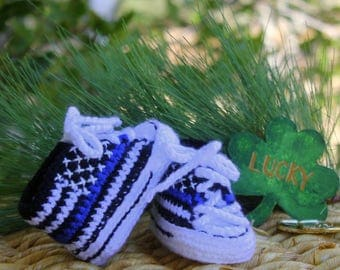 Baby Flag Shoes, THIN BLUE LINE flag shoes, Blue Lives Matter shoes, baby police shoes, Newborn Thin blue line, Baby Converse Shoes