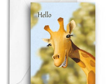 Hello - giraffe greeting card