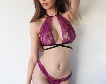 BLAISE Lingerie Set - sexy lingerie, lingerie, pink lingerie, lace bralette, panties, sexy underwear plus size lingerie, lace, pink lingerie