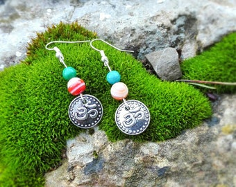 """Ethnic earrings """"Aum"""" with agate and chrysocolla stone and metal pendant"""