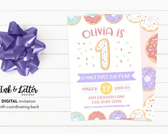 Donut Birthday Party Invitations - Doughnut Party Invites - Digital Birthday Invitations for Girl - First Birthday Invitations - Donut Party