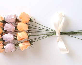 A Dozen Mixed Paper Roses in Apricot and Patterned White