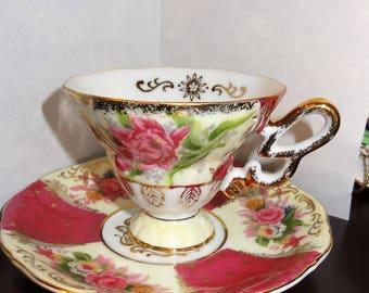 Pink Roses Pedestal Footed Teacup and Saucer with Gold Gilt,L M  Royal Halsey, Vintage Teacup and Saucer