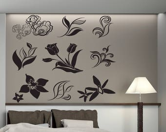Wall Vinyl Decal Multi Sticker 9 in 1 Floral Decorative Ornament Various Flowers for Living Room  (2419dn)