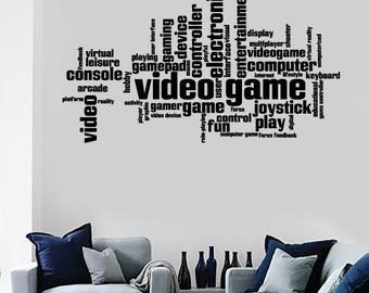 Wall Vinyl  Incentive Pharases Computer Console Joystick Video Game Decal (2517dz)