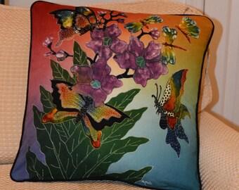 Dragonflies and Butterflies Flowers Batik Pillow Cover