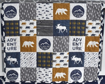 SHIPS TOMORROW - SALE - Moose adventure, navy and mustard, woodland nursery, woodland quilt, moose quilt, moose and bears