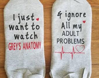 Grey's Anatomy Socks, I just want to watch Grey's Anatomy socks, heart monitor line socks, Grey's Anatomy fan, Heart Grey's Anatomy Socks