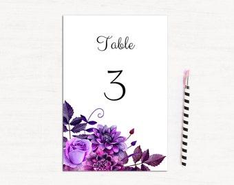 Wedding table numbers printable Unique wedding numbers Wedding table decorations Purple wedding table numbers diy Editable table number 1W38