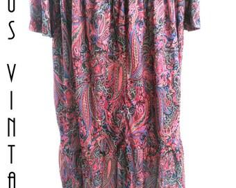 "Plus Size UK 32 XXL Vintage 1960s Paisley Babydoll Dress Scarlet Silky  Psychedelic US 28 Bust 58"" 149cm"