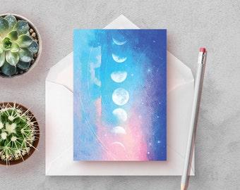 Moon Phase, Set of 3 Stationery Cards, stationery set, blank note cards, modern stationary, art stationery, set of notecards